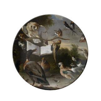 Flock of musical birds painting dinner plate