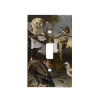 Flock of musical birds painting light switch cover