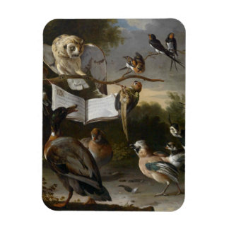 Flock of musical birds painting magnet