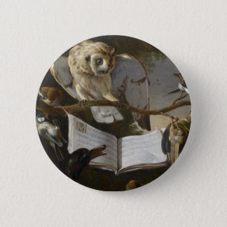 Flock of musical birds painting pinback button