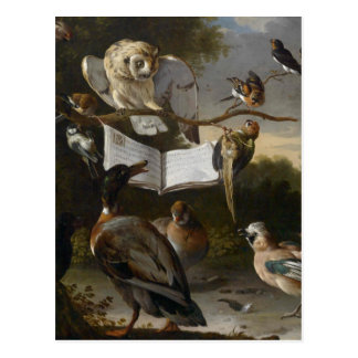 Flock of musical birds painting postcard