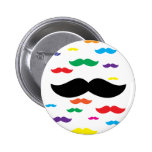 flock of mustache RAINBOW Pinback Buttons