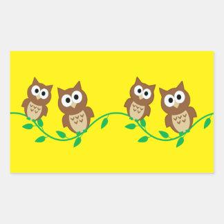 flock of owls rectangular sticker
