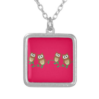 flock of owls silver plated necklace