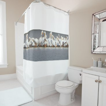 Flock of Pelicans Shower Curtain