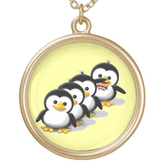 Flock of Penguins Gold Plated Necklace