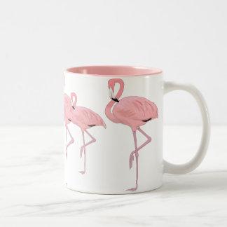 flock of pink flamingos Two-Tone coffee mug
