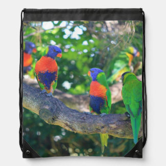 Flock of Rainbow lorikeets on a branch of a Tree Drawstring Backpack