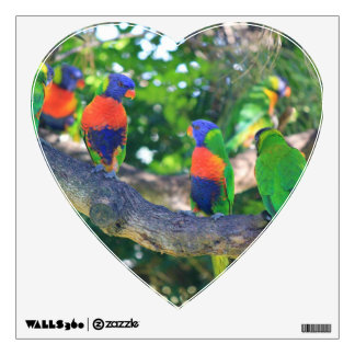 Flock of Rainbow lorikeets on a branch of a Tree Wall Sticker