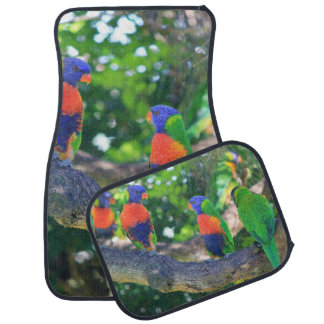 Flock of Rainbow lorikeets on a branch of a Tree Car Mat
