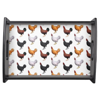 Flock Of Roosters Food Tray