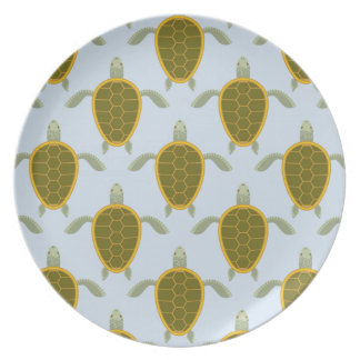 Flock Of Sea Turtles Pattern Melamine Plate