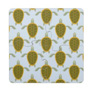 Flock Of Sea Turtles Pattern Puzzle Coaster