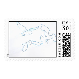 flock of seagulls blue outline postage
