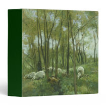 Flock of sheep in a forest, Anton Mauve 3 Ring Binder