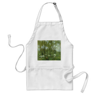 Flock of sheep in a forest, Anton Mauve Adult Apron