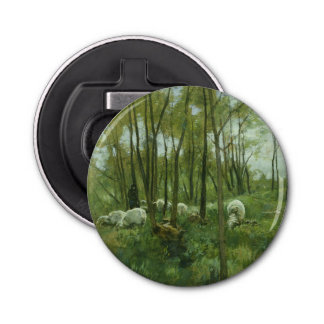Flock of sheep in a forest, Anton Mauve Bottle Opener