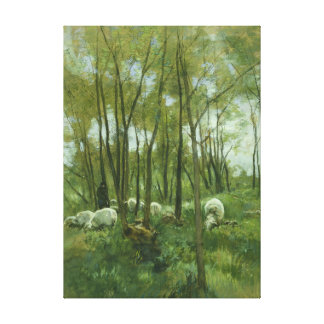 Flock of sheep in a forest, Anton Mauve Canvas Print