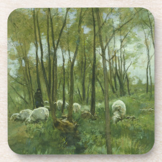 Flock of sheep in a forest, Anton Mauve Coaster