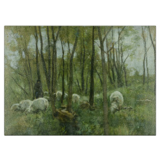 Flock of sheep in a forest, Anton Mauve Cutting Board