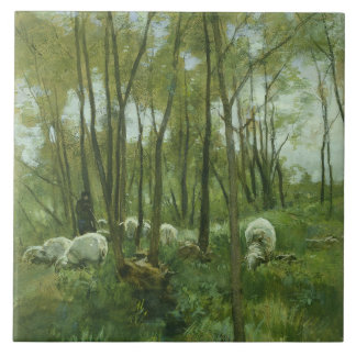 Flock of sheep in a forest, Anton Mauve Large Square Tile