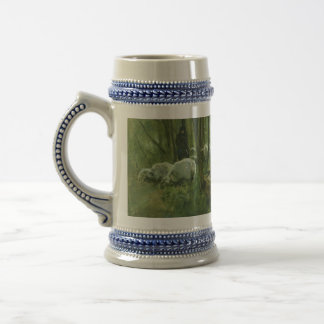 Flock of sheep in a forest, Anton Mauve 18 Oz Beer Stein