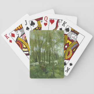 Flock of sheep in a forest, Anton Mauve Poker Cards