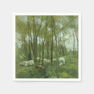 Flock of sheep in a forest, Anton Mauve Paper Napkin