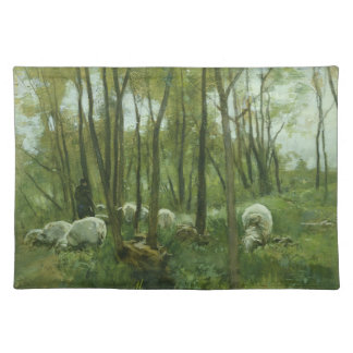 Flock of sheep in a forest, Anton Mauve Placemat