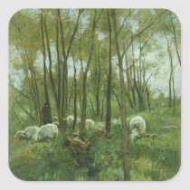 Flock of sheep in a forest, Anton Mauve Square Sticker