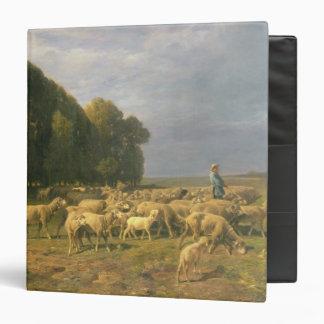 Flock of Sheep in a Landscape 3 Ring Binder