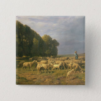 Flock of Sheep in a Landscape Button