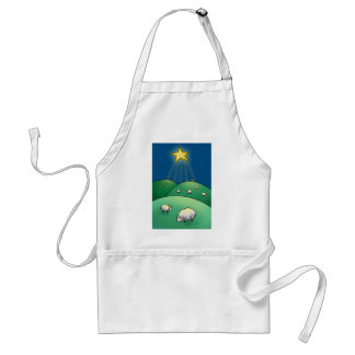 Flock of Sheep under Christmas Star Adult Apron
