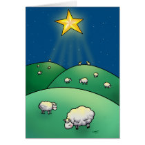 Flock of sheep under Christmas Star Card