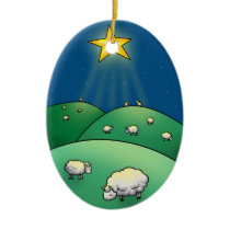 Flock of Sheep under Christmas Star Ceramic Ornament
