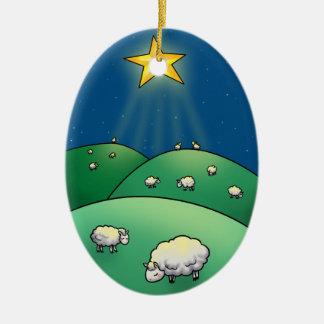 Flock of Sheep under Christmas Star Ceramic Ornament