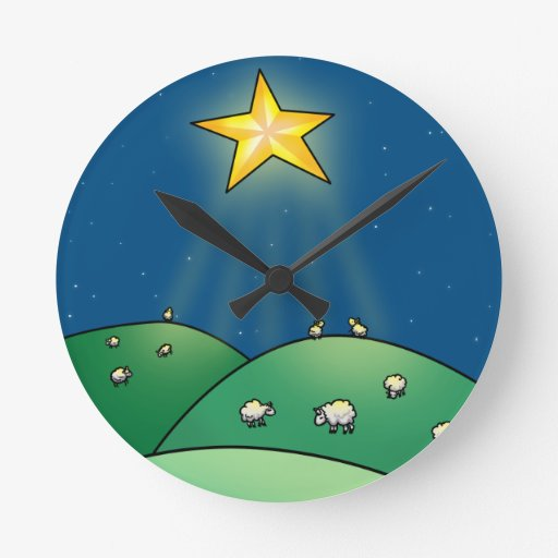 Flock of Sheep under Christmas Star Round Wall Clock