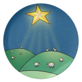 Flock of Sheep under Christmas Star Dinner Plates