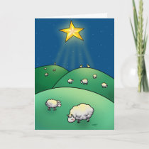 Flock of sheep under Christmas Star Holiday Card