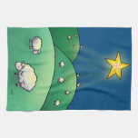 Flock of Sheep under Christmas Star Kitchen Towels