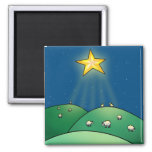 Flock of Sheep under Christmas Star 2 Inch Square Magnet