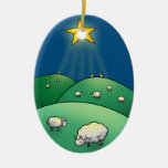 Flock of Sheep under Christmas Star Christmas Tree Ornaments