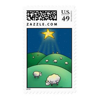 Flock of Sheep under Christmas star Stamp