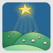 Flock of Sheep under Christmas Star Square Sticker