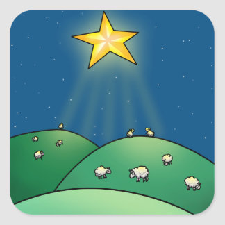 Flock of Sheep under Christmas Star Square Sticker