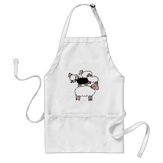 flock of sheep with black sheep aprons