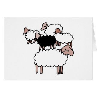 flock of sheep with black sheep greeting card