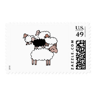 flock of sheep with black sheep stamps