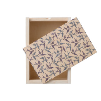 Flock of Sketched Birds Wooden Keepsake Box