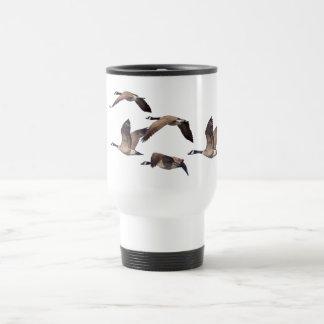 Flock of wild geese travel mug